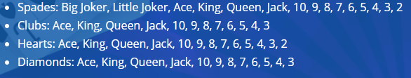 spades card rankings with jokers